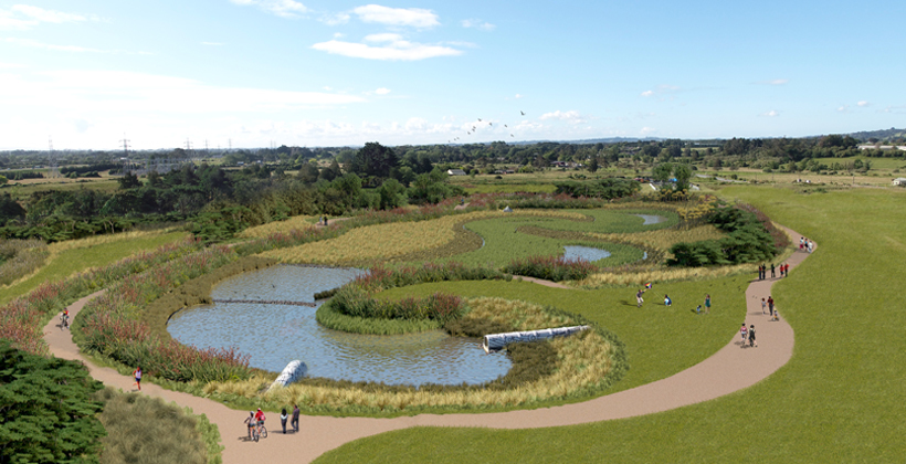 New Multimillion-Dollar Freshwater Wetland Designed by Iwi Artists - One of NZ's Largest