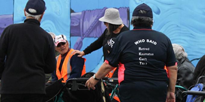 Kaumatua on Iron Maori track