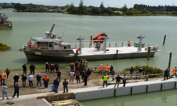 America's Cup boat builder celebrates with Opotiki iwi and local youth on the launch of Kukutai