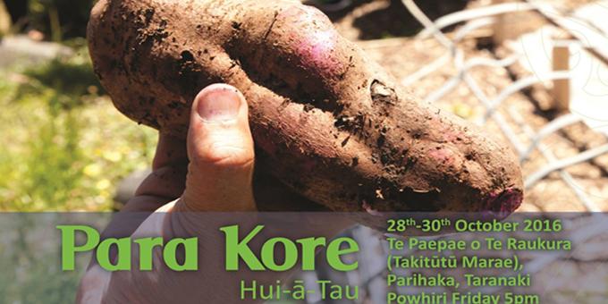 Parihaka to host Para Kore hui