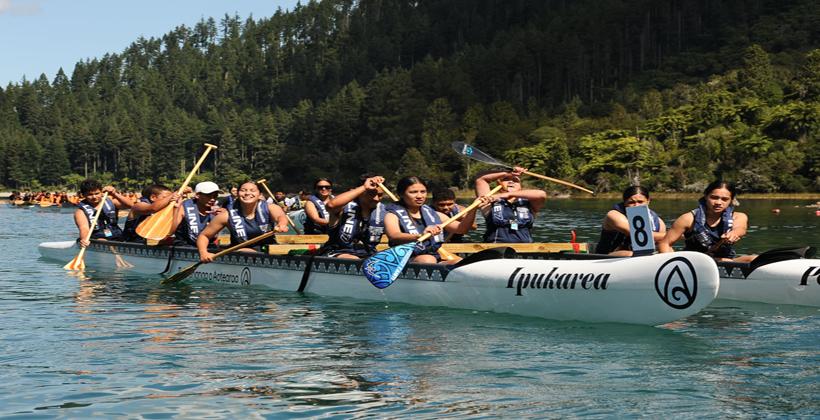 Blue Lake bustling with waka ama school national
