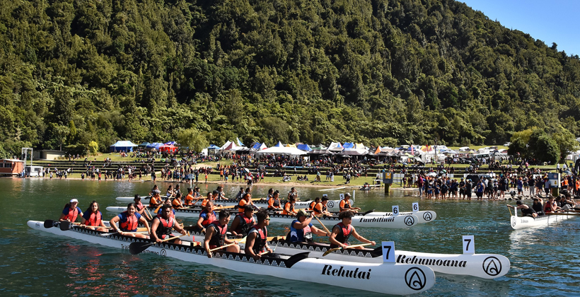123 Secondary Schools to take over the shores of Lake Tikitapu for the National Waka Ama Championships