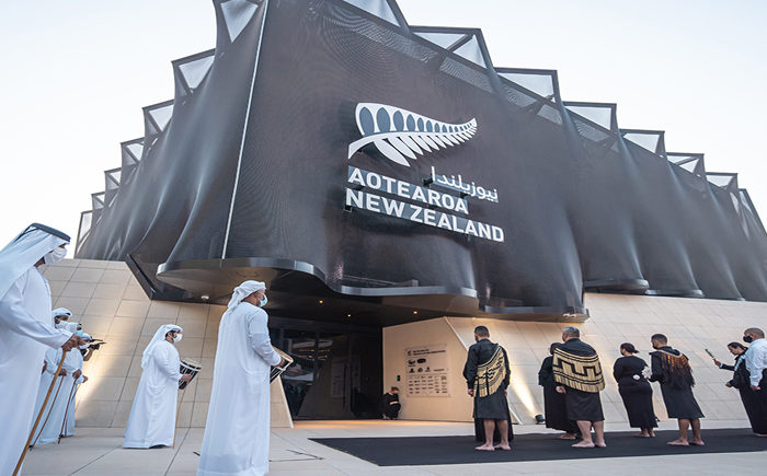 Emirati officials and Maori leaders perform dawn ceremony to dedicate New Zealand pavilion